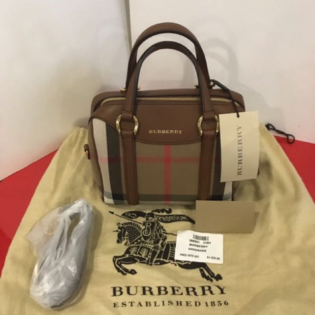7e94eaefc752 Burberry House Check Derby Leather Small Alchester Bowling Bag (Tan ...
