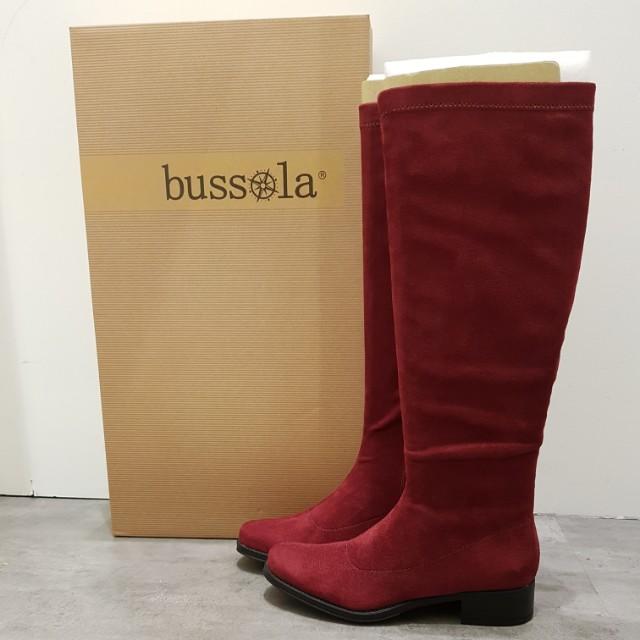 bussola 莓紅色麂皮靴