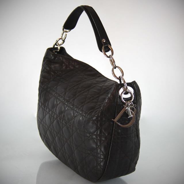 Christian Dior Cannage Quilted Lambskin Hobo Bag