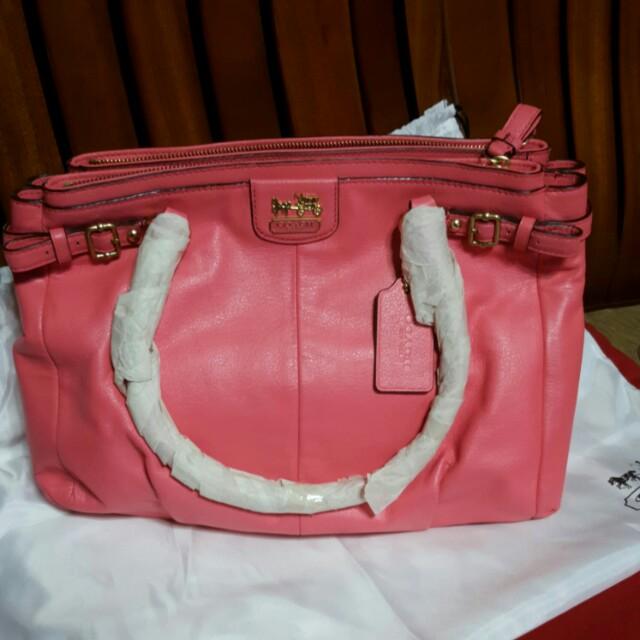 全新粉色COACH波士頓包