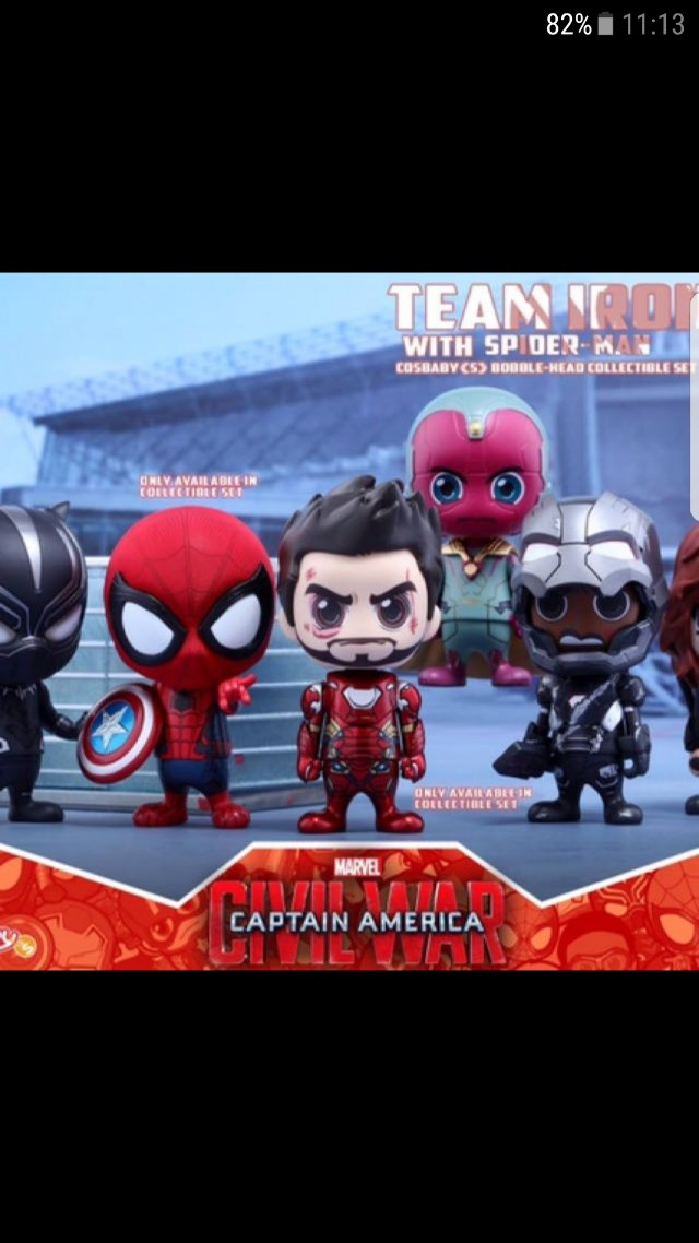 COSB272 Hot toys Cosbaby civil war team Iron Man with Spiderman