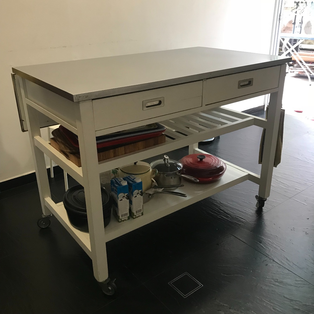 Crate Barrel Sheridan White Kitchen Island On Casters