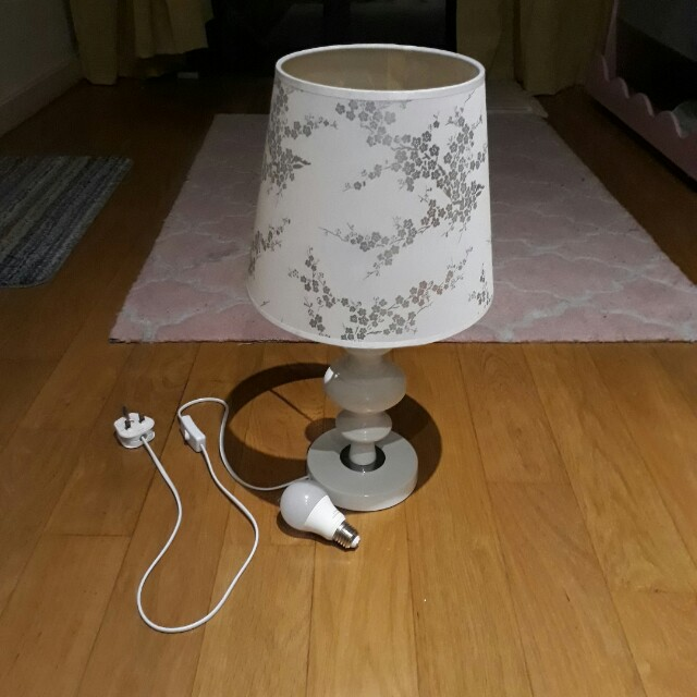 Floral Pattern White Table Lamp - Moving Out Clearance Sale