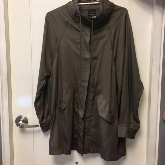 Forever21 Soft Parka Jacket with Embroidered Back - New