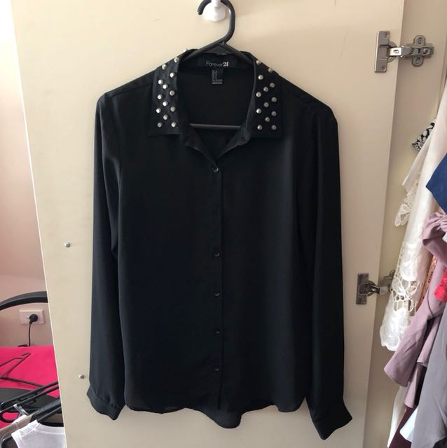Forever21 studded collar chiffon top