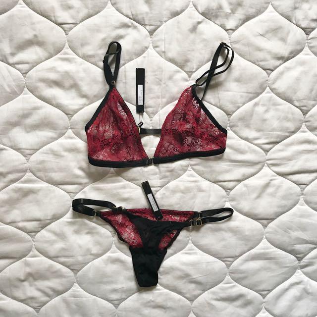 Gooseberry intimates set bralletes and underwear red