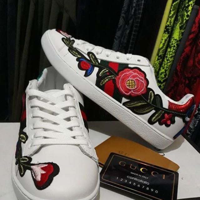 Gucci Embellished Leather Sneakers