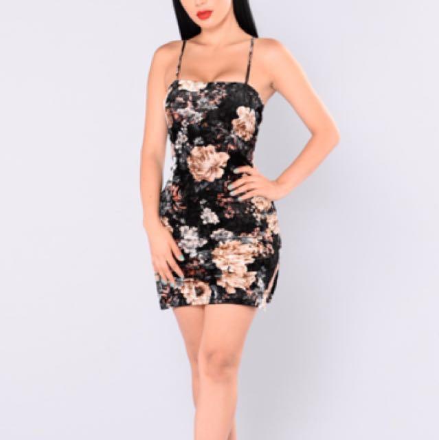 Gwen floral dress - black