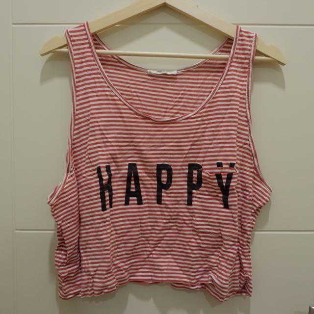 Happy red stripes crop tank