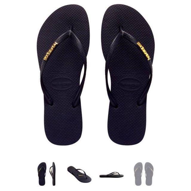 e77e975b1fc Havaianas Slippers Metal Logo Black   Gold