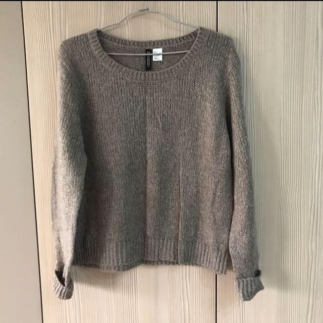 h&m咖啡色針織毛衣
