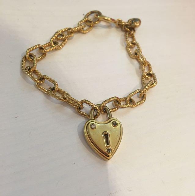 Juicy Couture Gols Heart Locker Charm Wristlet