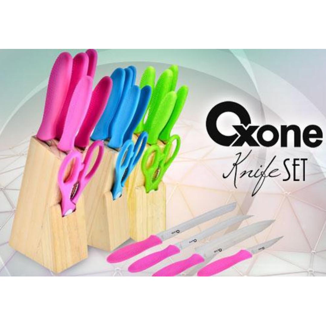 Oxone Ox 961 Biru Pisau Knife Set Daftar Harga Terlengkap Indonesia Dapur Warna With Holder Bahan Stainless Murah Kitchen Appliances