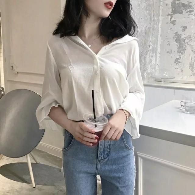 05fa4a08295c25 Korean style Long Sleeve White Blouse, Women's Fashion, Clothes ...