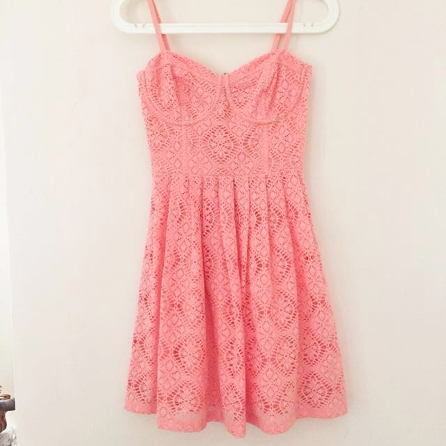 Love Bonito Coral Pink Bustier Dress