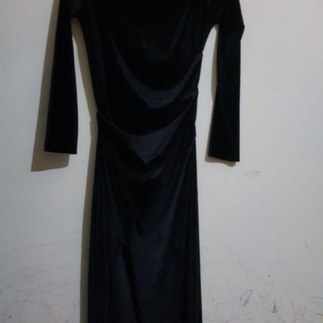 Maxi dress glamour bahan beludru