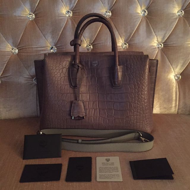 MCM Medium Milla Croc Leather Tote