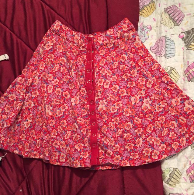 medium OU floral skater skirt