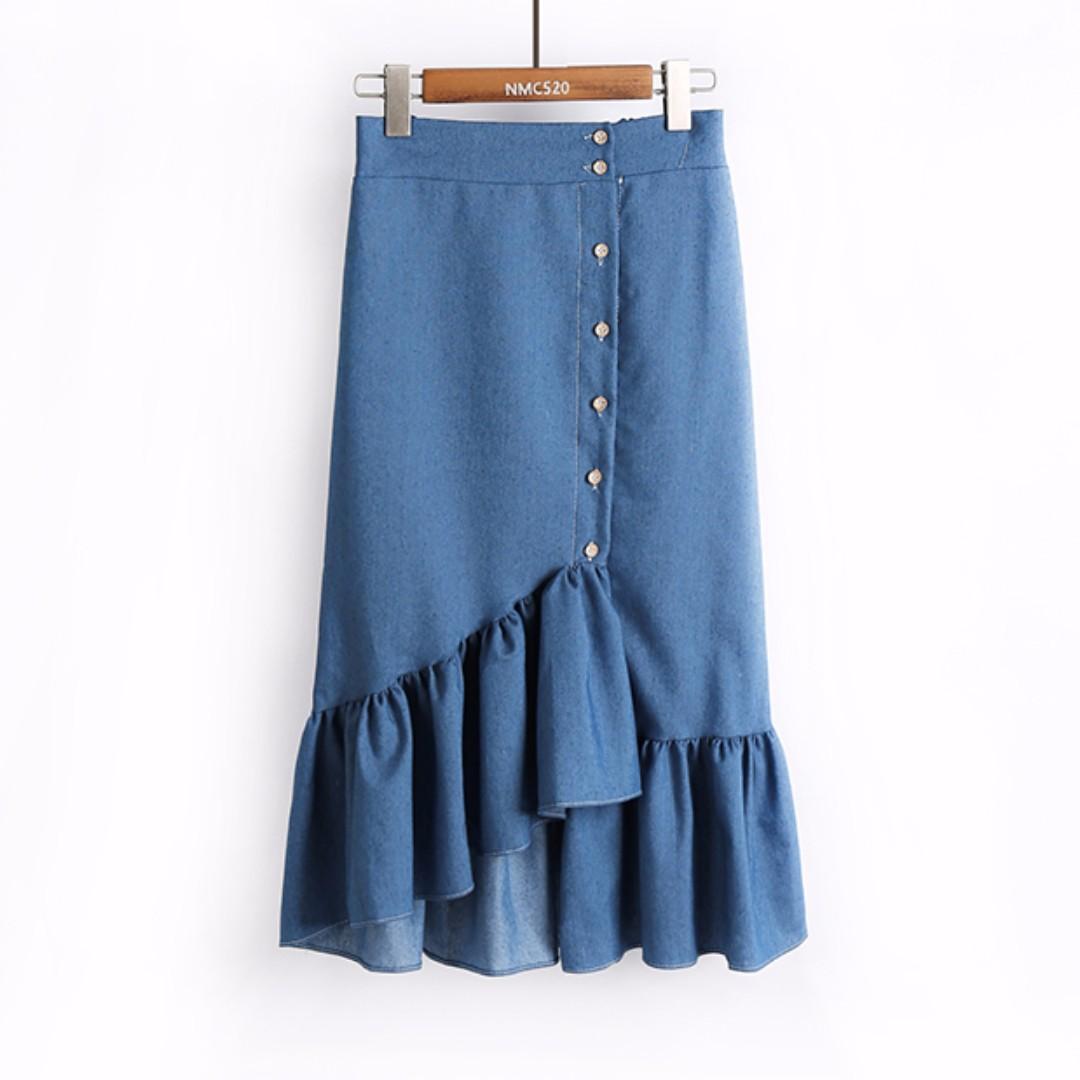 137af722467 Midi Skirt / Denim Skirt / Ruffles Skirt / Asymmetrical Skirt ...