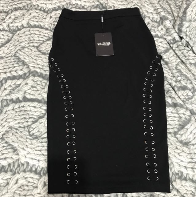 Missguided black midi skirt with lace up sides