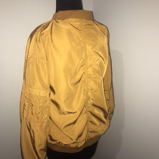 MONKI Sateen Bomber Jacket in Mustard