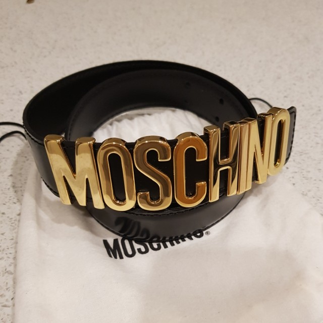 Moschino Belt with Gold Label - Authentic