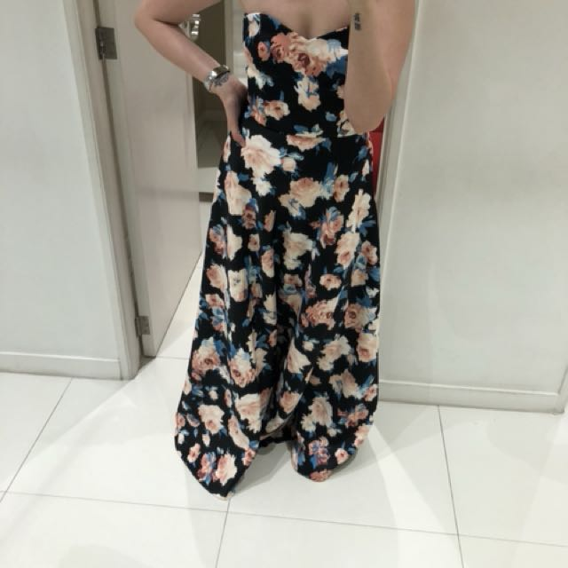Neoprene Floral Evening Dress
