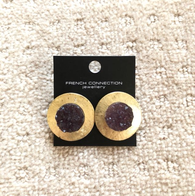 New French Connection FCUK Crystal Stone Stud Earrings