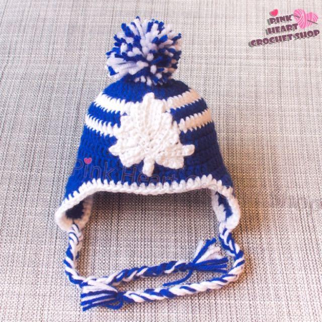 New handmade Toronto maple leafs baby hat