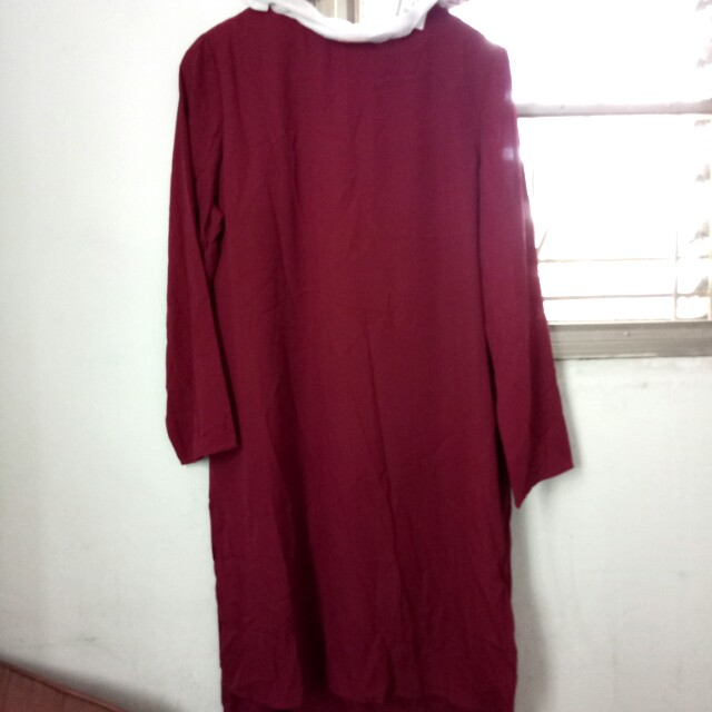 New maroon with pearl dress