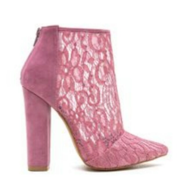 NEW Size 7.5 GoJane Booties Boots Lace Pink Heels