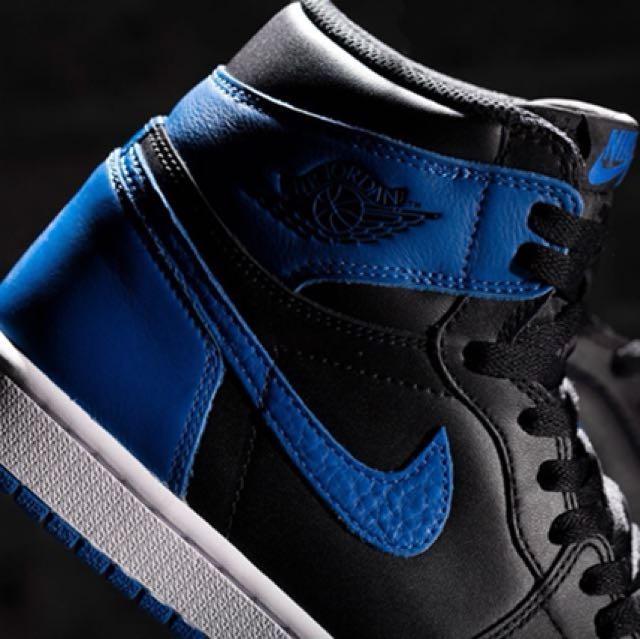 正品)Nike Air Jordan royal blue 一代 黑藍 US6.5