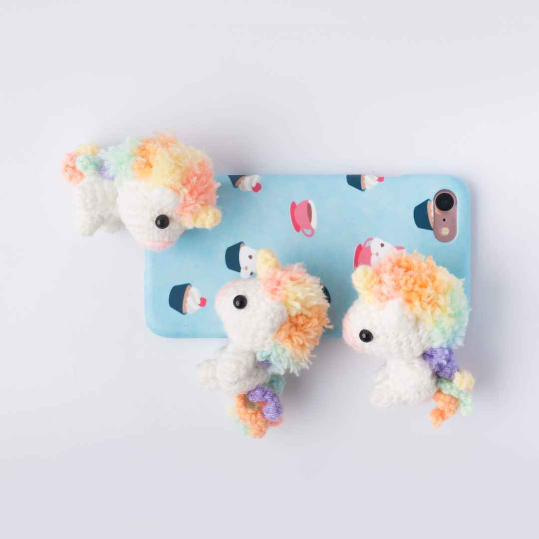Picomaru the Baby Rainbow Unicorn Amigurumi Pattern & Kit