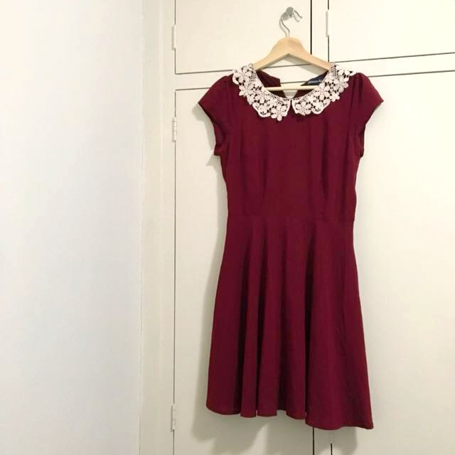 Princess Highway Red Lace Collar Dress