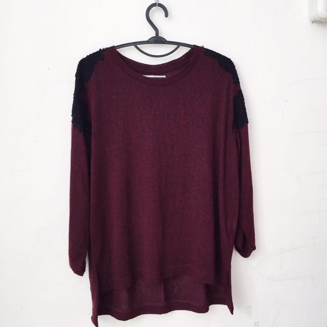 PULL&BEAR MAROON SWEATER WITH LACE DETAILING