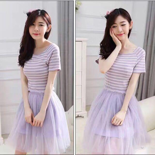 Purple stripe Dress