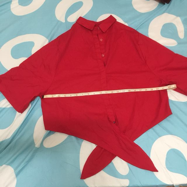 Red 3/4 Sleeve Polo with tie