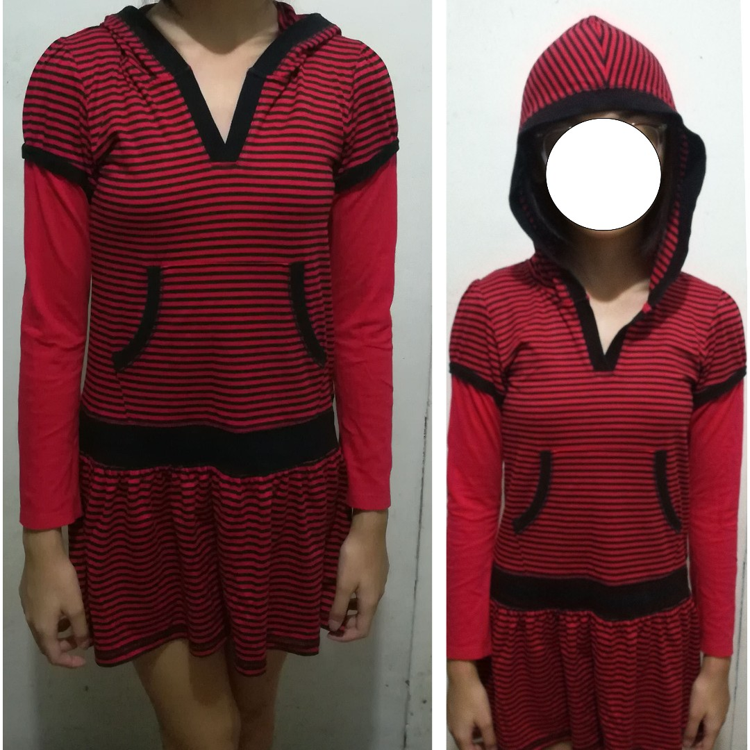 Red & black striped, long sleeved hoody dress