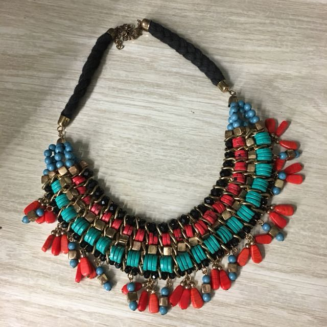 Red & Turquoise Statement Necklace