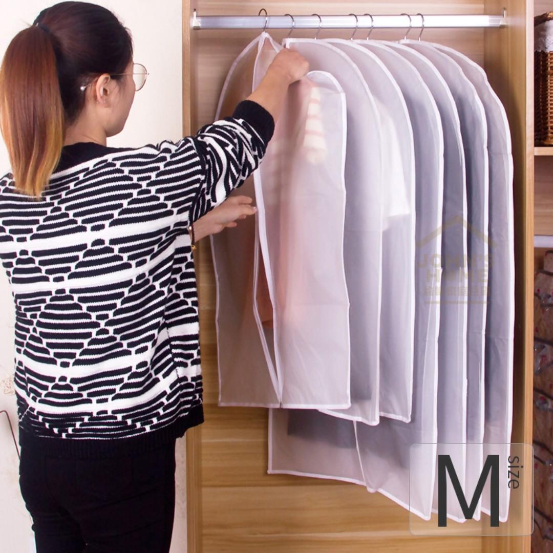 約翰家庭百貨》【SA093】5入加厚PVEA透明防水衣物防塵罩 M 中號 衣物罩 衣物保護罩 換季收納