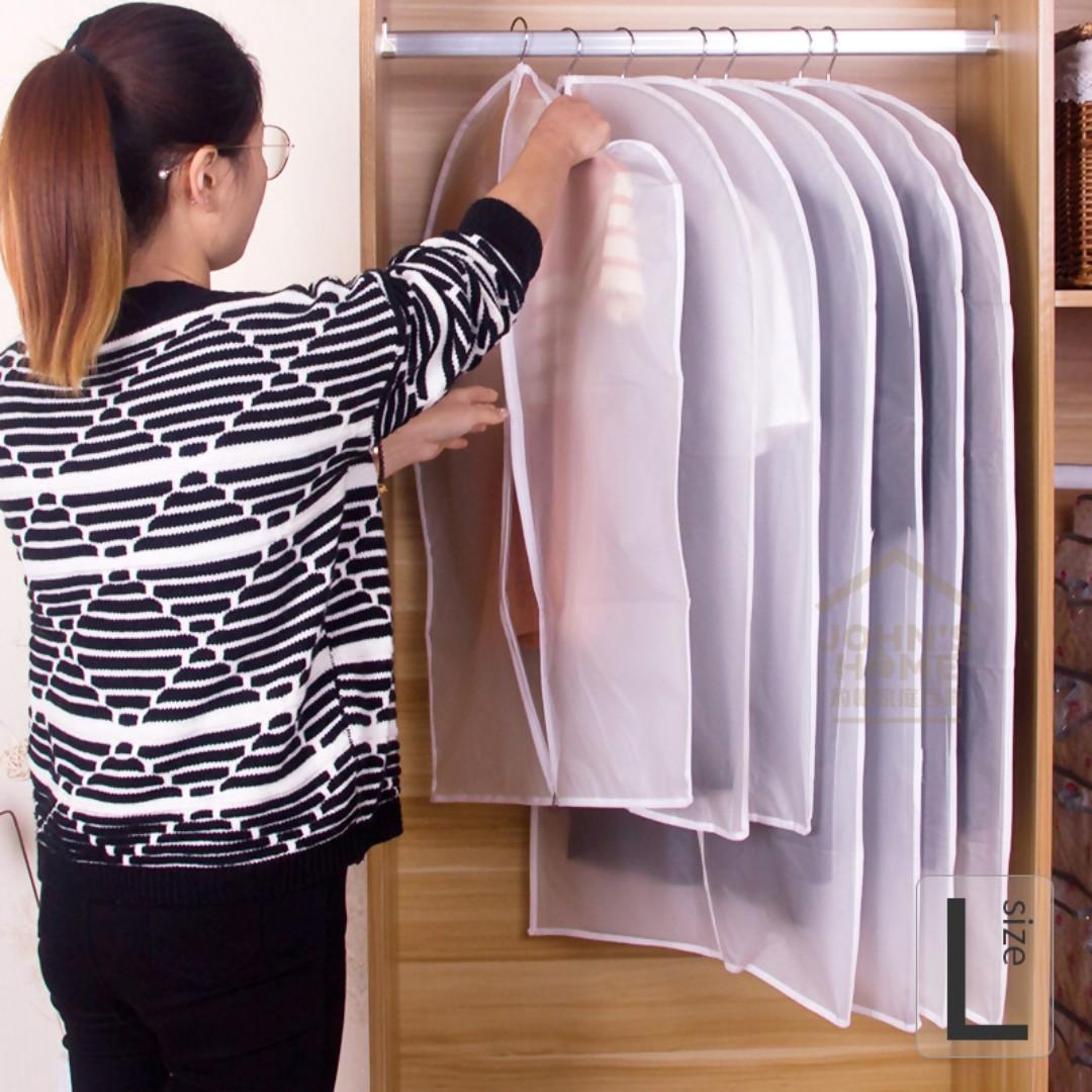 約翰家庭百貨》【SA094】5入加厚PVEA透明防水衣物防塵罩 L 大號 衣物罩 衣物保護罩 換季收納
