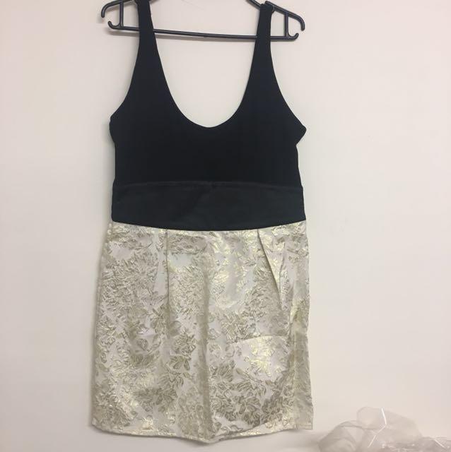 Sexy black gold dress Sz 12