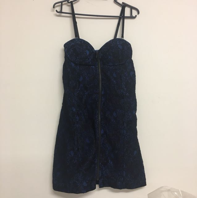 Sexy blue black lace zip up bodycon dress