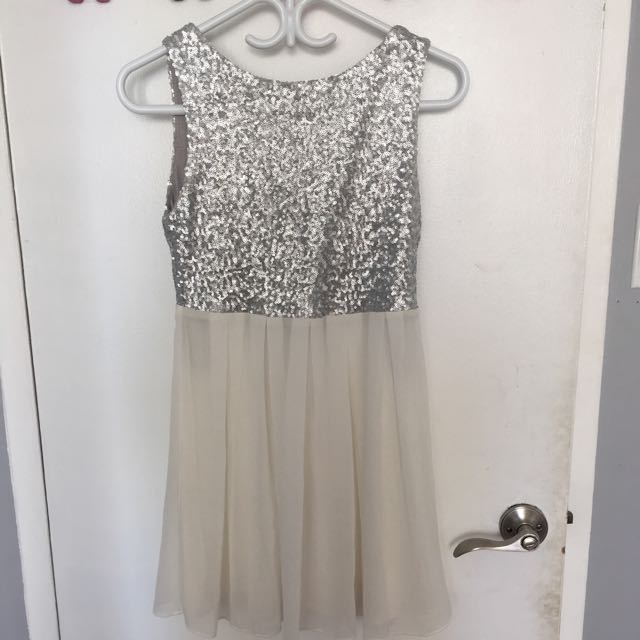 Silver Sequin Chiffon Dress
