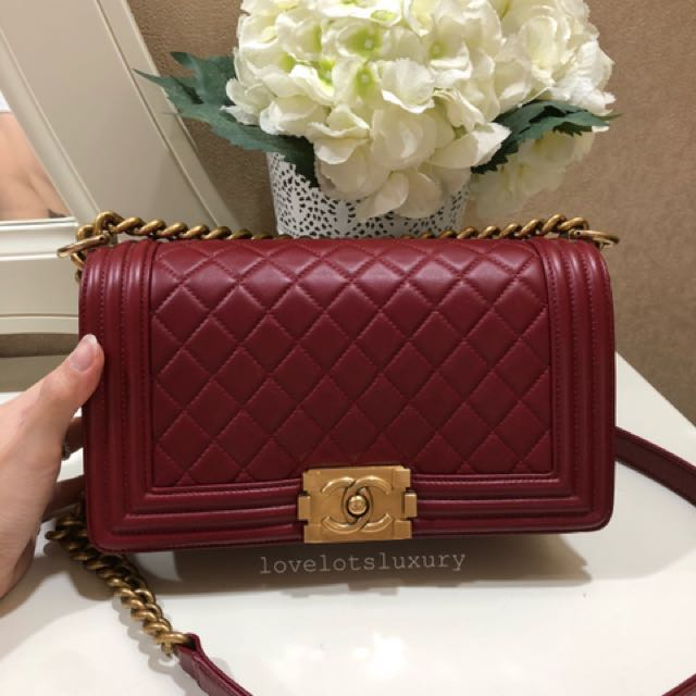 dac8159e8db0aa SOLD) Chanel Boy Dark Red/ Burgundy Lambskin GHW, Luxury, Bags ...