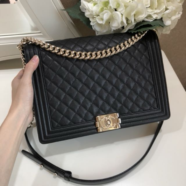 6af662e73cdc (SOLD) Like New Chanel Classic Boy Large Size Black Caviar shiny GHW,  Luxury, Bags & Wallets on Carousell