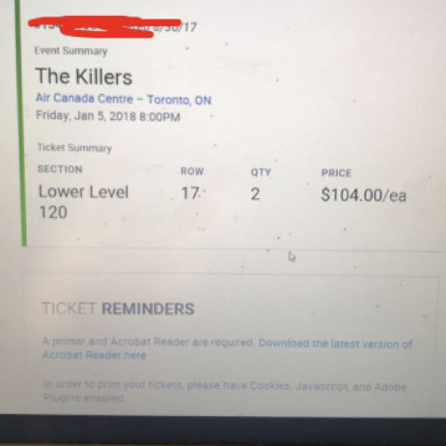 THE KILLERS TONIGHT! 2 tickets, can e-mail!