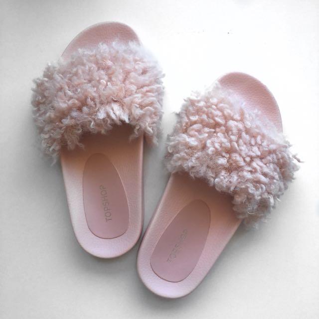 Topshop Pink Faux Fur Slides