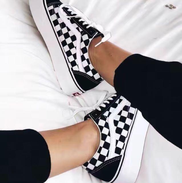 vans old skool black checkerboard damen