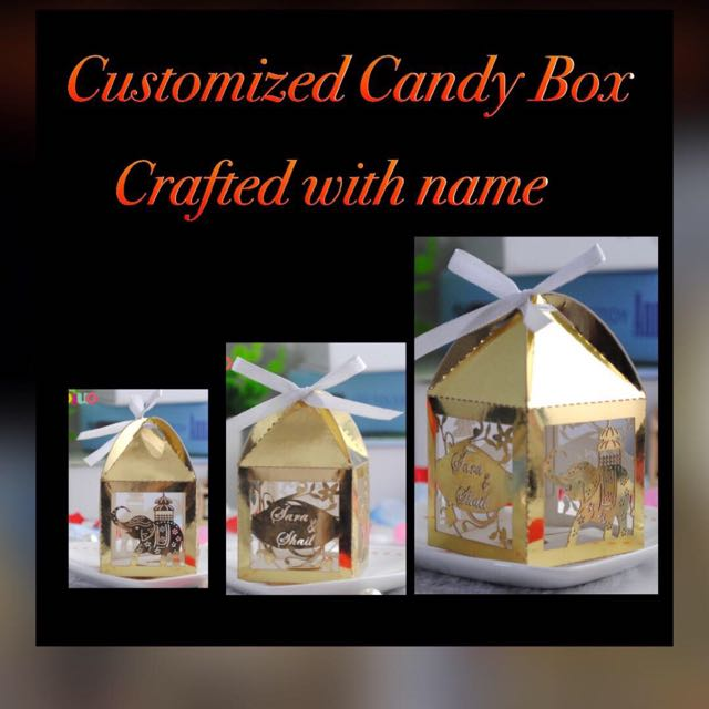wedding favors doorgift laddu box with couple name crafted food